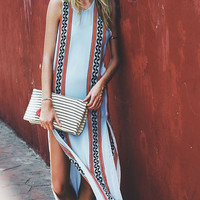 Geometric Printed Sleeveless Double Slit Maxi Dress