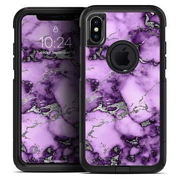 Purple Marble & Digital Silver Foil V6 - Skin Kit for the iPhone OtterBox Cases