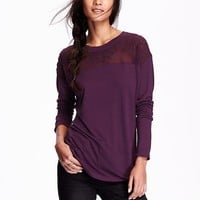 Old Navy Womens Embroidered Yoke Top