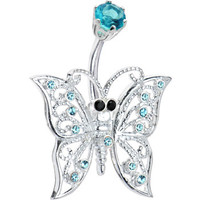 Sterling Silver 925 Aqua Cubic Zirconia Sterling Butterfly Belly Ring | Body Candy Body Jewelry