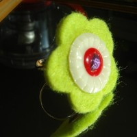 Ring, Felted Green Flower Cocktail Ring, Vintage Button, Handcrafted Ring
