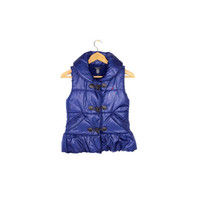 NAUTICA puffer vest - deadstock nwt - puffy quilted down vest - toggle button - metallic blue
