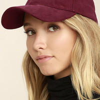 University of Chic Burgundy Suede Baseball Cap