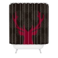 Natt Deer Damask Fuxia Shower Curtain