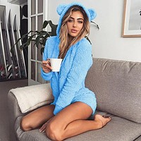 fhotwinter19 Hot sale solid color long-sleeved hooded cute women's jumpsuit