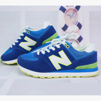 New balance abric is breathable n leisure sports shoes women's shoes Couples forrest gump students running Blue