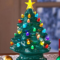 Green Large Retro Lighted Tabletop Christmas Tree With Star Holiday Home Decor