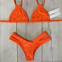 Orange fashion  back knot bikini two strape bikini bottom side open two piece bikini bath suit