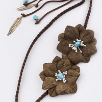 70S' BOHO DOUBLE FLORAL ACCENT BRAID HEADBAND WITH FEATHER DROP