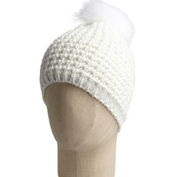 White Wool Blend And Fox Fur Pom Pom Hat
