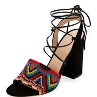 Valentino Native Beaded Lace-Up Sandal, Multicolor/Nero