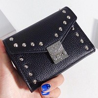 MCM New Fashion Rivets Leather Wallet Purse Handbag Black