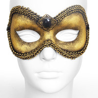 Handpainted Steampunk Masquerade Mask In Antiqued Brass Look - Venetian Style Black and Gold Masquerade Ball Mask