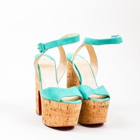 DCCK2 Teal Christian Louboutin Suede Cork Super Dombasle Sandals