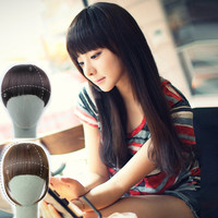 "6"" 1PC Clip in Bangs Fake Hair Extension Hairpieces False Hair Piece Clip on Front Neat Bang For Women Synthetic Hair Fringe"