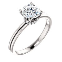 1.0 Ct Round Diamond Engagement Ring 14k White Gold