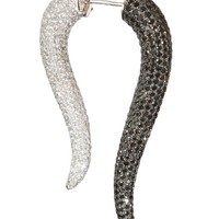 PRISTINE WHITE AND BLACK GOLD, BLACK AND WHITE DIAMONDS HORN EARRING