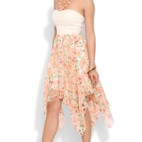 Strapless Dress with Open Knot Back and Floral Hanky Hem