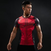 Deadpool Dead pool Taco 3D Printed T-shirts Men Fun   Cosplay Costume Short Sleeve Compression Shirt Male Tops Halloween Costumes For Men AT_70_6