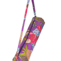 Stylish Yoga Mat Bag - Hand Embroidered in India With Quality Full Zipper & Strap (Purple)