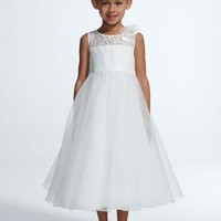 Tank Organza Tea Length Ball Gown with Lace - David's Bridal