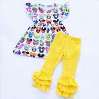 Mouse Head Character Ruffle Pant Outfit