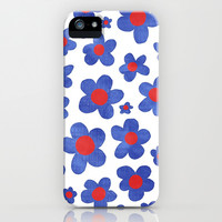 Cobalt Blue & Cherry Red Denim Painted Daisies on White iPhone & iPod Case by micklyn
