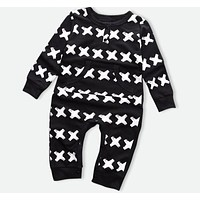 Baby Girls Clothes Baby Boys Jumpsuits Cross pattern Print born Rompers Winter Infant Coveralls