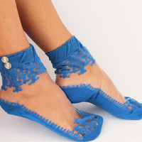 Women Socks, Women's Shoe Accessories, Lace Socks, Royal Blue Lace Socks, Hosiery,