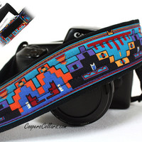 Tribal Camera Strap, Pocket, Native American, Southwestern, Indian, Purple, Turquoise,dSLR