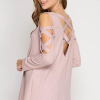 Criss Cross Detailed Sleeves -  Pink