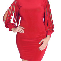 Plus Size Shredded Sleeves Blue Cocktail Dress, Plus Size Clothing, Club Wear, Dresses, Tops, Sexy Trendy Plus Size Women Clothes