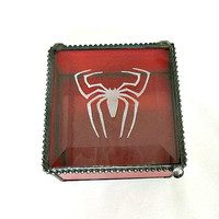 Red Spiderman Inspired Stained Glass Box, Gift for Him, Gift for Her, Geekery, Gift for Spiderman Fan, Peter Parker, Keepsake Box
