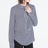 TIED LONG-SLEEVED STRIPED BLOUSE