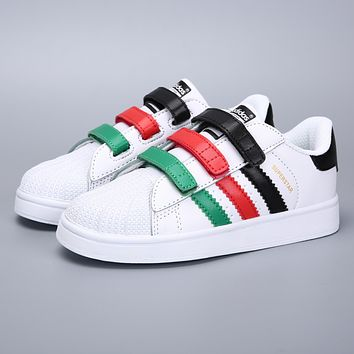 Adidas Original Superstar White Black Red Green Velcro Toddler Kid Shoes