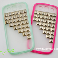 Samsung Galaxy S3 Case - Silver Pyramid Studded on Frosted Translucent Samsung Galaxy S3 Case,  8 colours for you choose