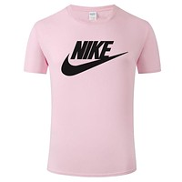 NIKE 2019 new thin section loose round neck half sleeve t-shirt pink