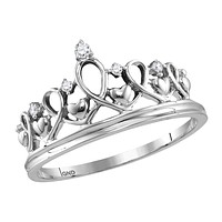 Sterling Silver Women's Round Diamond Tiara Crown Princess Band Ring 1/20 Cttw - FREE Shipping (US/CAN)