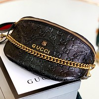GUCCI New fashion more letter print leather shoulder bag crossbody bag Black