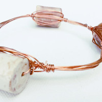 Marbled White & Honey Porcelain Wire Wrapped Bangle - Porcelain Bead Bangle Bracelet - Copper Wire Wrapped Bracelet - Porcelain Bead Jewelry