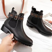 LV Louis Vuitton Women Fashion Leather Martin Boots Shoes