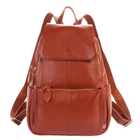 Cowhide Genuine Leather Preppy Bakpack
