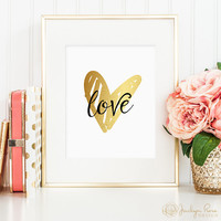ON SALE Love gold foil heart, hand drawn, printable wall art decor, love art, faux gold foil, instant digital download JPG)