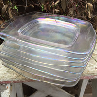Vintage iridescent square luncheon/ dessert /salad plate, rainbow glass dessert plate, wedding shower brunch garden party serving plates