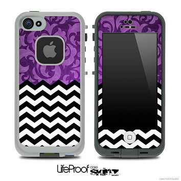 Mixed Purple Paisley and Chevron Pattern Skin for the iPhone 5 or 4/4s LifeProof Case