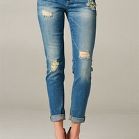 Medium Light Wash Destroyed Boyfriend Jeans