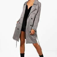 Abigail Check Button Detail Trench Coat | Boohoo