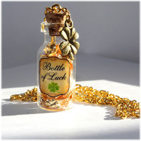 St. Patricks Day Bottle of Luck Necklace with Four Leaf Clover & Leprechaun Gold