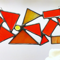 Orange Abstract Stained Glass Sun Catcher Geometric Orange Stained Glass Ready to Ship
