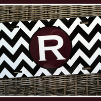 License Plate Car Tag Personalized Monogrammed Car Tag Car Accessories Gift Teacher Sweet 16 License Plates New Car Black and White Chevron